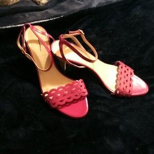 J crew New hot pink Inez heel sandals